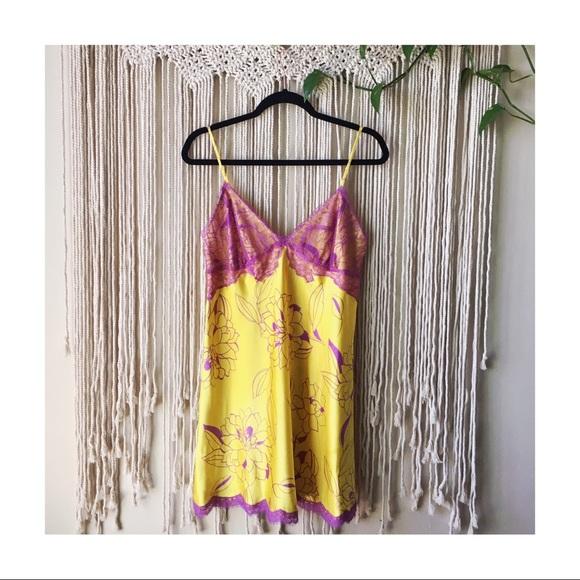 La SENZA Other - La Senza Yellow & Purple Mini Floral Slip Dress